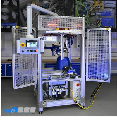 Prüfstand mit integriertem Dichtheitsprüfgerät CETATEST 715 LV zur Dichtheitsprüfung von Kanistern und Kunststofffässern